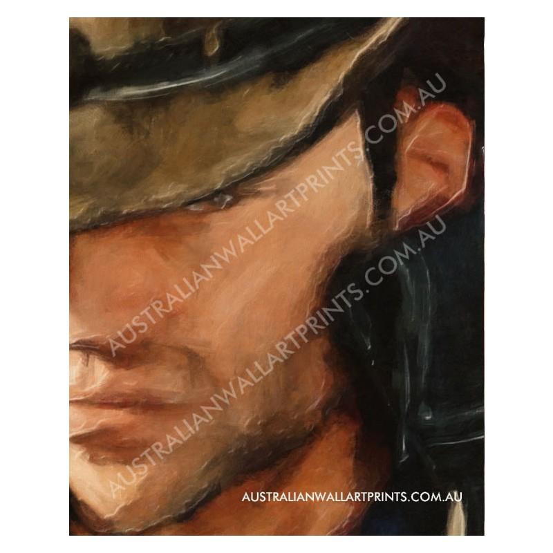 Australian Stockman in Oilskins Art Print