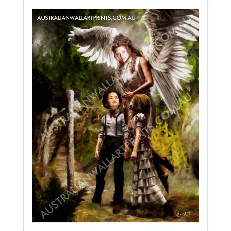 Beautiful guardian angel wall art