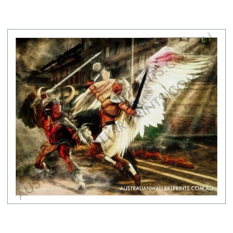 Angel vs Demon Wall Art Print