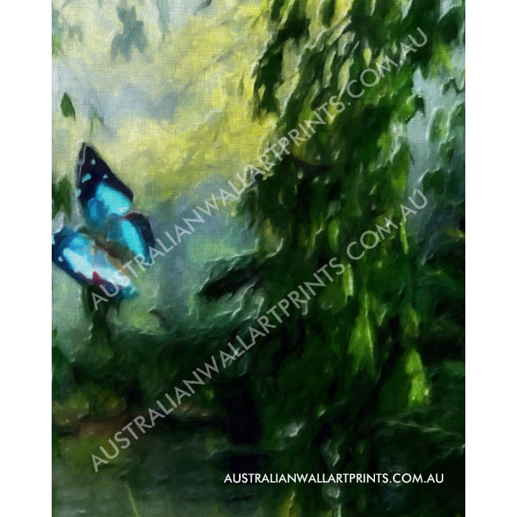 Butterfly by a Meandering Stream Art Print