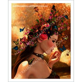 Butterfly and model wall art print