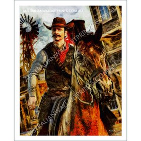 American Cowboy on Horseback Wall Art Print