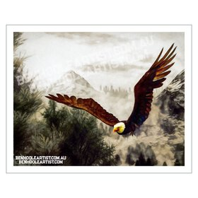 An American bald eagle soaring in the clouds among snow-topped mountains. Giclee printed digital oil painting with visual texturing and a painterly feel.