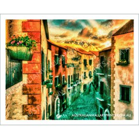 Italian Terrace Houses Wall Art