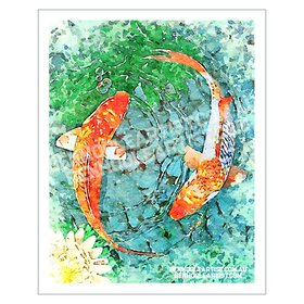 Koi Pond Digital Watercolour Art Print
