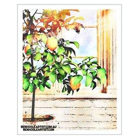 Digital watercolour lemon tree