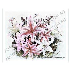 Lilies & Lavender Digital Watercolour
