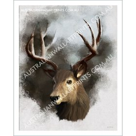 Red Stag Digital Oil Painting