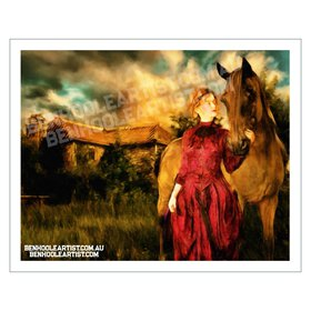 Victorian Era Horse and Woman Rural Landscape