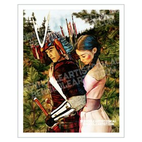 Japanese Samurai Couple Giclee Art Print