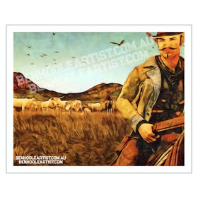 American cowboy wall art print